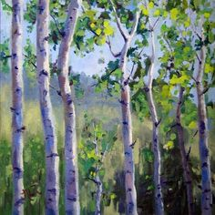 Summer Aspens 8 x 8 original oil painting    ...BTW,Please Check this out:  http://artcaffeine.imobileappsys.com