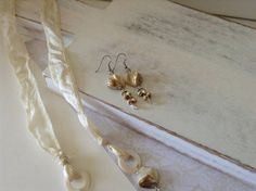 Ivory Shell Swarovski Crystal Silk Necklace and Dangle Earring Set on Etsy, $30.00