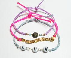 Love chain braided friendship bracelets lot - Neon pink cord gold chain colorful floss purple string letter beads free people inspired