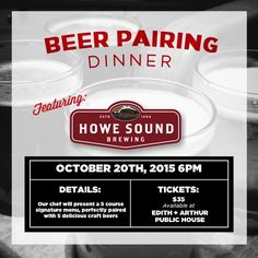 October's Craft Beer Pairing Dinner At Edith + Arthur Features Howe Sound Brewing!