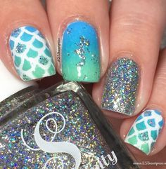 Sparkly turquoise Mermaid nails by @25sweetpeas using @serendipitypolish and Scale Nail Stencils & Mermaid Nail Decals found at snailvinyls.com