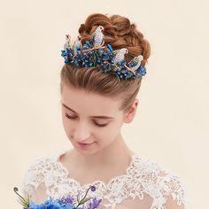 Vintage Wedding Bridal Blue Crystal Queen Baroque Crown Headband Tiara Jewelry  #TiaracrownhairaccessoriesheadbandJewelrySet