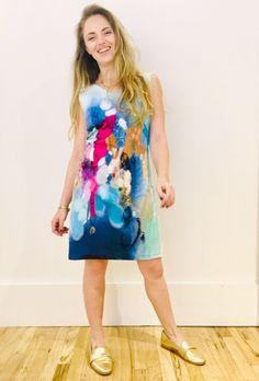 Claire Desjardins by Carré Noir: Secret Heart print Cotton Blend Shift Dress for Spring 2019.   #clairedesjardins #clairedesjardinsart #ClaireDesjardinsApparel #Sundress #JeanJacket #cami #WomensApparel #WearableArt #designerclothing #apparel #designerapparel #artandfashion #fashionandclothing #artonclothing #abstractart #abstractpainting #designerclothes #womensapparel #womens #Tunic #Dress #ShiftDress