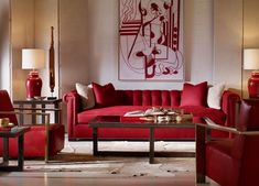 Transitional red living room decor with red tufted sofa # Red Couch Living Room, Red Living Room Decor, Red Home Decor, Indian Living Rooms, Indian Home Decor, Living Room Designs, Red Sofa, Large Sofa, Interior Design