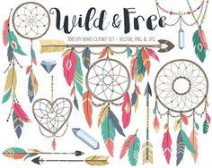 Tribal Clipart - Boho Tribal Clip Art Set, Dreamcatcher, Feather, Bow and Arrow Digital Clip Art
