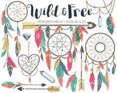 Tribal Clipart - Boho Tribal Clip Art Set, Dreamcatcher, Feather, Bow and Arrow Digital Clip Art