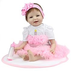 Reborn Baby Doll Girl Look Real Silicone Pink Tutu Skirt 22 Inches.