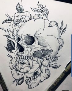 Skull skulltattoo tattoo tattooed tattooartist peony peonytattoo artwork by ninesque really amazing work! Skull Tattoo Flowers, Flower Skull, Flower Tattoos, Floral Skull Tattoos, Peonies Tattoo, Geometric Tattoos, Feminine Skull Tattoos, Butterfly Tattoos, Skull Tattoo Design