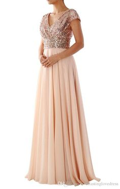2017 Hot Sale Cap Sleeves V Neck Sequin Chiffon Rose Gold Bridesmaid Dress Long Wedding Party Gowns