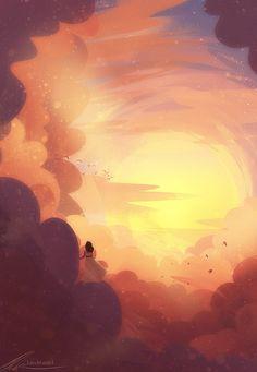 "zandraart: ""among the clouds "" Fantasy Landscape, Fantasy Art, Painting Inspiration, Art Inspo, Piskel Art, Wallpaper Animes, Environment Concept Art, Anime Scenery, Art Plastique"