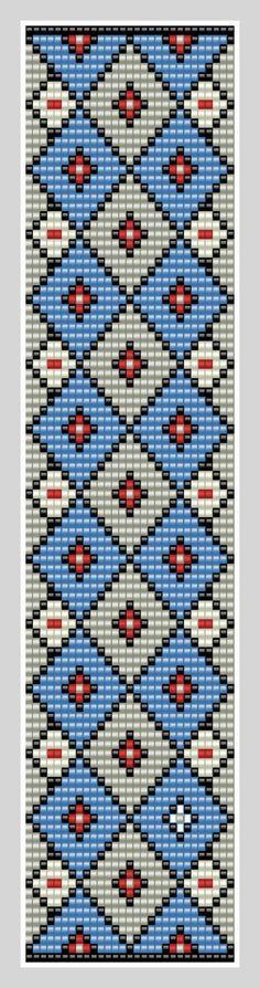 Bead loom Cuff Pattern PDF Pattern Geometric by BeadscapesbyEs SIngle wide for hatband? Seed Bead Patterns, Peyote Patterns, Weaving Patterns, Cross Stitch Patterns, Crochet Patterns, Cross Stitches, Bead Loom Bracelets, Beaded Bracelet Patterns, Mochila Crochet
