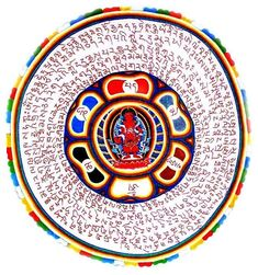 """ Avalokitesvara Korwa Tongtrug amulet designed by Namkhai Norbu Rinpoche "" Tibetan Mandala, Tibetan Art, Mystic Symbols, White Umbrella, Buddhist Art, Beautiful Artwork, Deities, Feng Shui, Buddha"