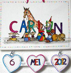 Geboortebordje.Dit is een voorbeeld van een bordje dat bij een geboorte gegeven kan worden. De geboortedatum, maar ook bijvoorbeeld het gewicht en het tijdstip van de geboorte, kunnen op de figuurtjes die eronder hangen worden aangegeven. Behalve hartjes kunnen het ook andere figuurtjes zijn, b.v. een beer, bal of een speelgoedautootje.