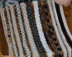 Beaded Lace Trim Ivory Pearl Beaded Trim 36 long   Etsy Beaded Trim, Beaded Lace, Lace Trim, Wedding Belts, Beaded Jewelry Patterns, Ivory Pearl, Pearl Beads, Altered Art, Costume Jewelry