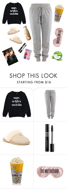 """""""Sleep, Eat, Repeat"""" by itzsavannah27 ❤ liked on Polyvore featuring UGG, Christian Dior and BaubleBar"""