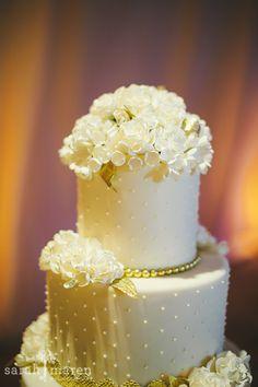 Crocker Art Museum Wedding Photos - white and gold leaf wedding cake - Sarah Maren Photographers