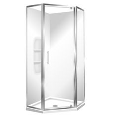 Angle corner for the tight Spaces Features Low profile tray with 40mm upstand. One piece acrylic lining with moulded shelf. 1950mm high glass. Pivot door – modern 1-piece design which is reversible 6mm safety glass. Available in White or Silva Polished quality metal chrome handle,
