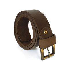 Brown Leather Jeans Belt by AtelierPALL Buckle belt by LeatherPall