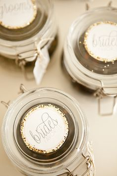 Glitter Romance in Gold Jar Labels by Dandelion Willows Invitations + Stationery Photo Credit: Royce Sihlis Photography