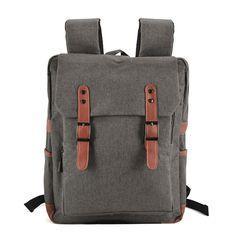 28f181817cec0 Zdjęcie Plecak vintage na laptopa 15,6 Szary FOX Satchel Backpack, Canvas  Backpack,