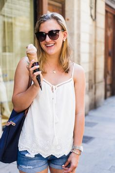 White Eyelet Top Styled in Barcelona with Ice Cream, a fashion post on sweetlysally