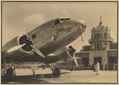 Margaret Bourke-White (1904-1971) TWA airplanes on the Tarmac, 1935 Two warm-toned gelatin silver prints, with black borders, mounted; one with her 'A Margaret Bourke-White Photograph' credit stamp on the mount verso. (2)  In 1935, TWA, Pan Am Airways, and Eastern Airlines hired Bourke-White to photograph various places of interest along their routes across the United States.  9 1/4 x 13 1/4in each