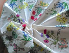 Updates from GardenOfCrinoline on Etsy Vintage Tablecloths, Linen Tablecloth, Vintage Floral, Vintage Linen, Vintage Tea, Vintage Kitchen, Vintage Sewing Rooms, Embroidery Motifs, Vintage Embroidery