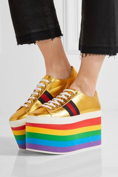 Multicolored platform sole measures approximately 130mm/ 5 inches Gold leather Lace-up front  Made in Italy