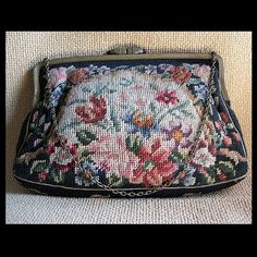 Vintage Needlepoint Evening Bag
