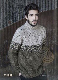 - Icelandic Einir Mens Wool Sweater Green - Tailor Made - Nordic Store Icelandic Wool Sweaters - 1 Male Sweaters, Hand Knitted Sweaters, Wool Sweaters, Knit Vest Pattern, Sweater Knitting Patterns, Knitting Designs, Pullover Pink, Pullover Outfit, Icelandic Sweaters