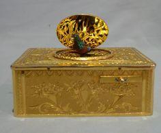 Antique singing bird box in gilt bronze engraved case, Swiss, OMM movement - Gavin Douglas Antiques