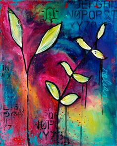 Love the vibrant colors in this mixed media piece by Donna Downey! Bright Art, Art Journal Inspiration, Original Art Prints, Flower Art, Art, Collage Art, Canvas Art, Art Journal, Original Art