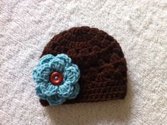 Crochet Newborn Baby Girl Beanie With Attached by CrochetByClaudia, $18.00