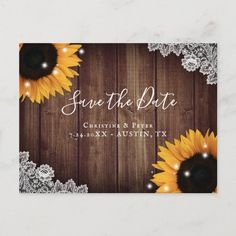 Barn Wood, Rustic Wood, Fall Wedding, Rustic Wedding, Floral Wedding Save The Dates, Sunflower Wedding Invitations, Save The Date Postcards, Wood Background, Lace Weddings