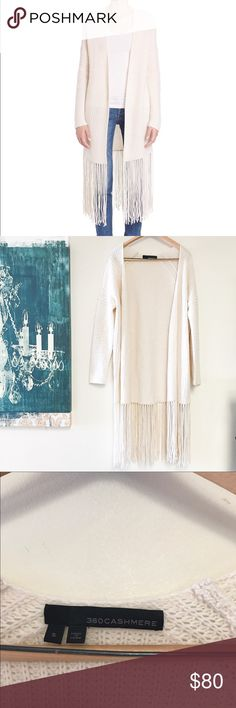 360 Cashmere wool blend fringe cardigan Great used condition, only worn twice. Size small. So unbelievably SOFT. Very minor piling on top. 360 Cashmere Sweaters Cardigans