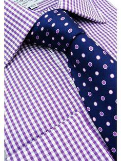 Small Purple Gingham Button Cuff Shirt - G26   Gingham Button Cuff Shirts   Harvie & Hudson of Jermyn Street London