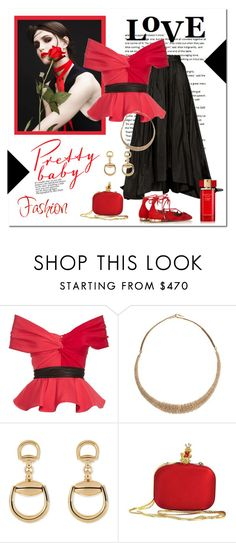 """""""Sexy Off-The-Shoulders"""" by victorianheaven ❤ liked on Polyvore featuring Emilio De La Morena, Gucci, Moschino, Estée Lauder, skirts, designer and redandblack"""