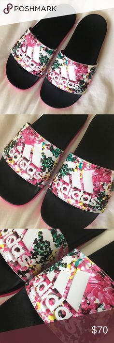 RARE Adidas Slides NWT ✨ Rare Limited Edition Adidas Slides - Floral pattern with comfort sole ✨ adidas Shoes Sandals