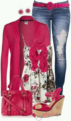 really cute but too much pink... i would keep the scarf pink turn the shoes brown, turn the cardigan into a denim blazer, i would go with an olive green for the purse and a brown belt