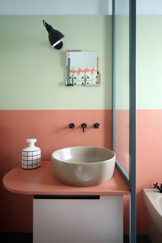Relationship with nature and memories of space were the driving concepts behind this whimsical Milan apartment renovation by Marcante-Testa. Bad Inspiration, Bathroom Inspiration, Interior Inspiration, Bathroom Colors, Small Bathroom, Coral Bathroom Decor, Lowes Bathroom, Bathroom Shop, Bathroom Images