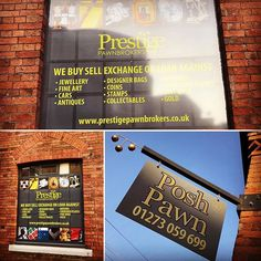 Bespoke signage for new Brighton store including fabricated steel swing sign and window infills with printed graphics direct to aluminium composite panels. New Brighton, Shop Signs, The Prestige, Sign Design, Bespoke, Signage, Creativity, Jewelry Design, Buy And Sell