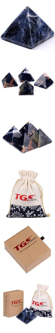 """TGS Gems® Pyramid-Finest Big Sodalite Gemstone 1.0"""" Carved Pyramidal Healing Crystals Crafts"""