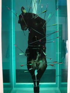 Damien Hirst, Saint Sebastian, Exquisite Pain. 2007, calf, glass, steel, bullock, arrows, and 5% formaldehyde solution.