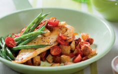 Spanish-style Hake With Chorizo & Italian Tomatoes Recipe Italian Tomatoes Recipe, Chorizo Recipes, Steamed Green Beans, Recipe Search, Seafood Dishes, Spanish Style, Yummy Eats, Baking Recipes, Dinner