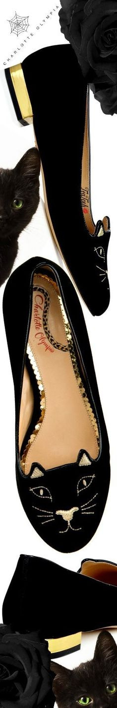 ❈Téa Tosh❈ Charlotte Olympia, KITTY FLATS #charlotteolympia #teatosh Shoes Heels, Flats, Flat Shoes, Old Hollywood Glamour, Gold Fashion, Shades Of Black, Luxury Shoes, Charlotte Olympia, Love And Light