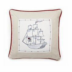 Whistle and Wink Pirate Ship Decorative Cotton Throw Pillow Parker Men, Baby Park, Kids Bedding Sets, Pillow Fight, Pirate Theme, Kids Furniture, Furniture Decor, Decorative Throw Pillows, 3 D
