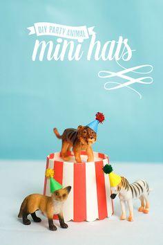 DIY Mini Animal Party Hats #confettisunshine