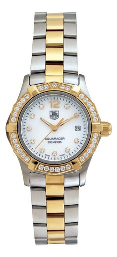 TAG Heuer Women's WAF1450.BB0825 Aquaracer Diamond Two-Tone Mother-of-Pearl Dial Watch: Watches