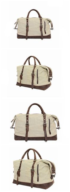 Vintage Style Canvas Leather Dufulle Bag Holdall Luggage Briefcase Bag