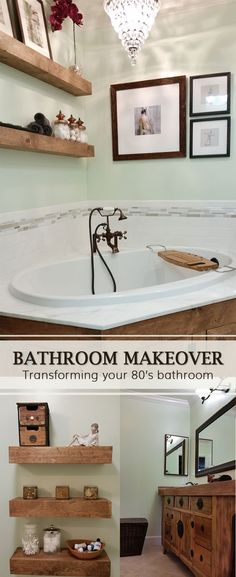 bathroom makeover - transforming an 80s builder grade bathroom to a tiny little spa on a budget! Mint green with rustic wood and copper accents!